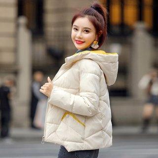 韩版新款2019冬女款韩版时尚撞色连帽短款保暖棉衣