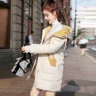 韩版新款2019冬女款韩版时尚休闲撞色拼接连帽棉衣