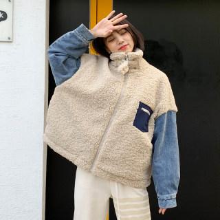 韩版新款2019秋冬新款韩版加厚羊羔服宽松棉服外套女