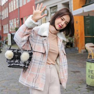 韩版新款2019韩版女装冬装新款宽松潮格子毛领毛呢外套