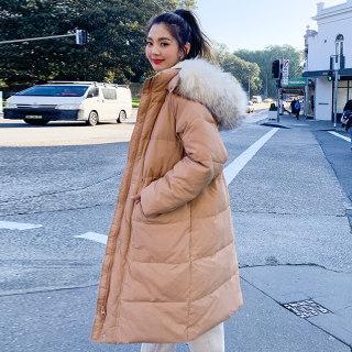 韩版新款2019冬季新款韩版中长款宽松外套毛领棉衣棉服女