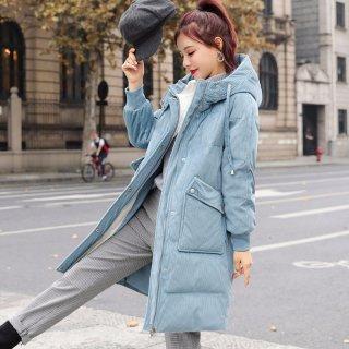 韩版新款2019冬韩版时尚撞色连帽灯芯绒长款保暖棉衣