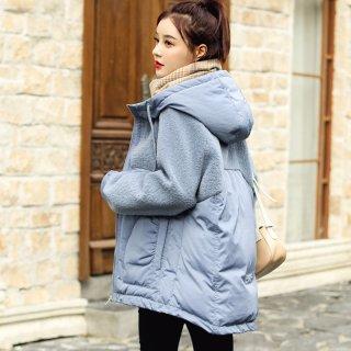韩版新款2019冬女款韩版时尚拼接连帽抽绳女式保暖棉衣
