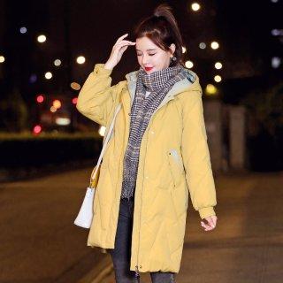 韩版新款2019冬女款韩版时尚撞色连帽保暖中长款棉衣