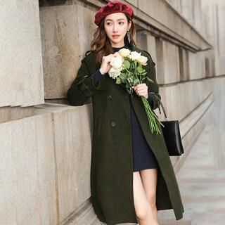 韩版新款冬季新款韩版长款过膝显瘦双面羊毛呢大衣外套女