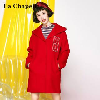 韩版新款冬季女装新款韩版显瘦中长款刺绣连帽羊毛毛呢大衣连帽外套女