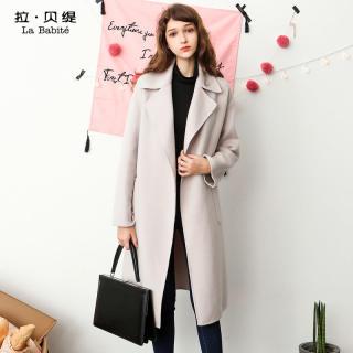 韩版新款冬款韩版双面呢子外套女系带中长款过膝羊毛呢大衣
