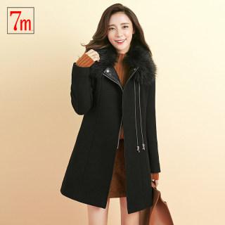 韩版新款7M女装新款春韩版黑色毛领宽松毛呢外套中长A摆呢大衣女
