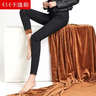 加绒牛仔打底裤女新款冬季外穿中高腰加厚弹力小脚铅笔长裤