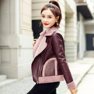 冬装女装2019冬女款韩版时尚简约翻领撞色皮毛一体短外套