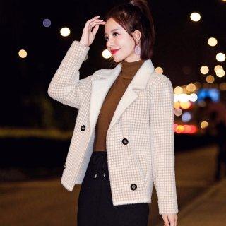 冬装女装2019冬女款韩版时尚格子撞色绒毛针织衫式外套