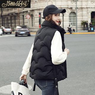 冬装女装2019新款韩版时尚黑色休闲简约修身显瘦搭配马夹白鸭绒羽绒服