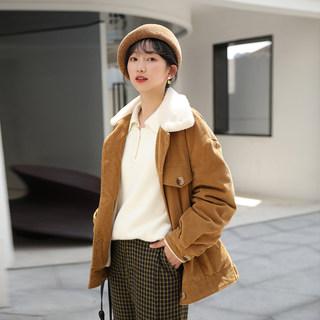 冬装女装休闲外套女加绒冬装2019新款韩宽松bf显瘦保暖灯芯绒棉衣
