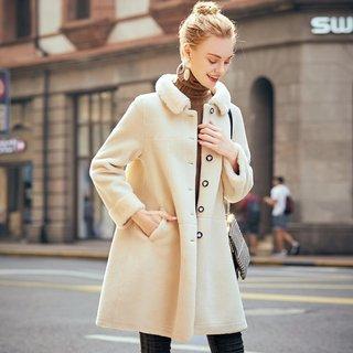 冬装女装2019冬女款翻领单排扣皮毛一体气质中长款大衣