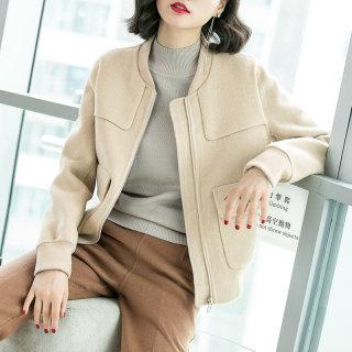 冬装女装2019冬装新款减龄修身显瘦羊毛双面呢短款外套棒