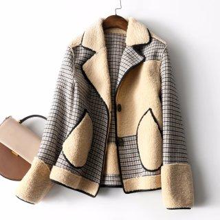 冬装女装2019冬新款女款时尚个性格纹拼接外套