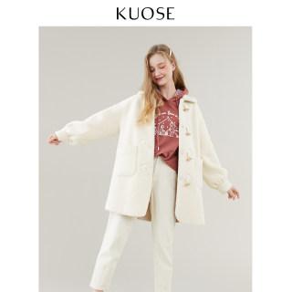 冬装女装2019秋冬新款韩版女宽松中长款羊羔毛大衣牛角扣毛呢外套