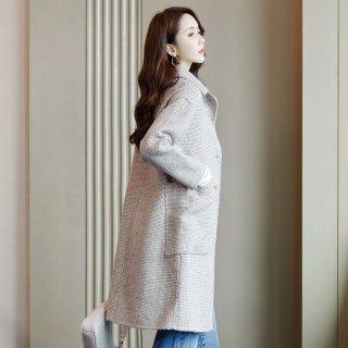 冬装女装2019冬女款韩版简约格子中长款双面呢外套大衣