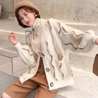 冬装女装2019秋冬新款慵懒风流苏破洞边仿水貂绒针织开衫蝙蝠袖外套女