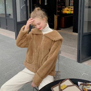 冬装女装短款小个子上衣女2019秋冬新款韩版学生宽松加厚羊羔毛外套