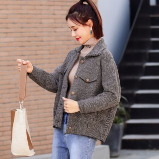 冬装女装2019冬女款韩版时尚百搭条纹加厚短款女外套