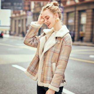 2019冬女款颗粒绒翻领时尚休闲格纹短款外套