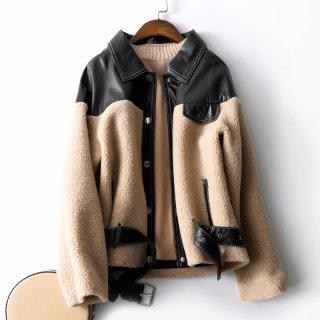 2019冬新款女款时尚个性拼接通勤颗粒绒外套