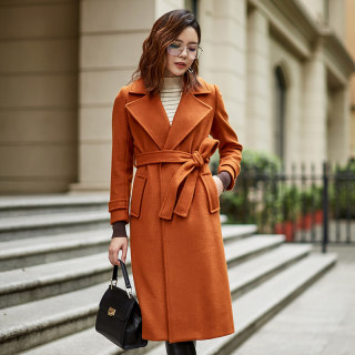 咏仕女装冬季新款韩版纯色时尚百搭系带长款毛呢外套