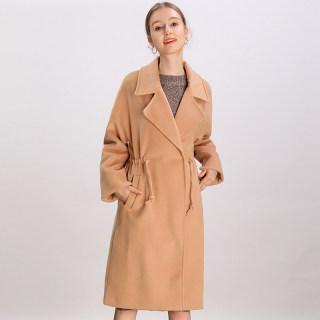 2019冬装新款韩版时尚大翻领系带抽绳纯色毛呢大衣外套女