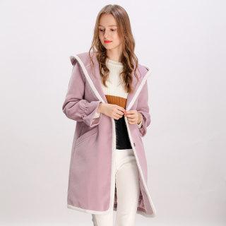女装2019冬季新款甜美学院风减龄纯色宽松中长款毛呢外套