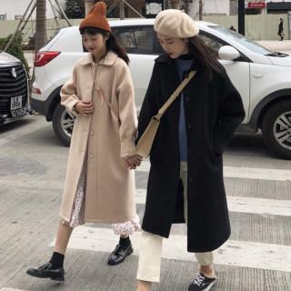 秋冬韩版2019新款流行毛呢外套女气质百搭小个子过膝加厚呢子大衣