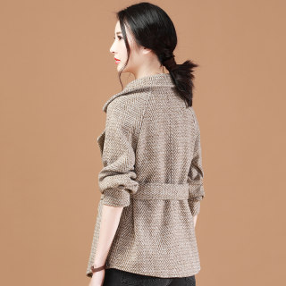 毛呢外套女2019冬装新款宽松加厚气质西装领短款呢子大衣