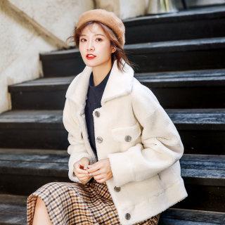 羊羔毛外套女2019秋冬新款韩版加厚棉衣短款宽松bf毛毛羊羔绒棉服