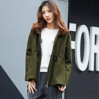 冬季新款韩版宽松大码甜美绑带毛呢外套女