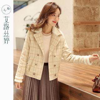 毛领格子毛呢外套女装2019冬季新款韩版宽松短款呢子大衣