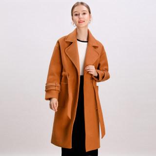 2019冬装新款韩版时尚气质淑女纯色绑带收腰毛呢外套大衣