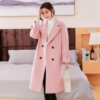 2019秋冬装新款韩版大码加厚女装毛呢大衣女中长款显瘦长袖外套大衣