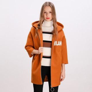2019冬季新款韩版宽松大码百搭连帽中长款毛呢外套