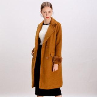 2019冬季新款韩版宽松甜美百搭双排扣中长款毛呢外套女