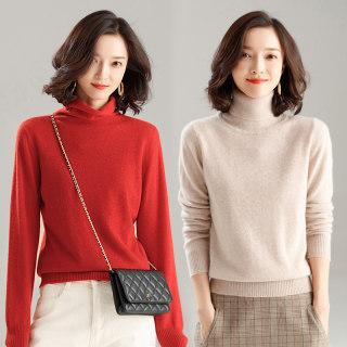 高领羊绒衫女2019秋冬新套头纯色短款打底针织衫山羊绒毛衣女宽松