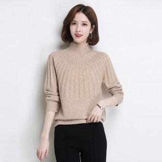 毛衣女装上衣2018新款高领纯色100%羊毛衫秋冬宽松针织衫短款