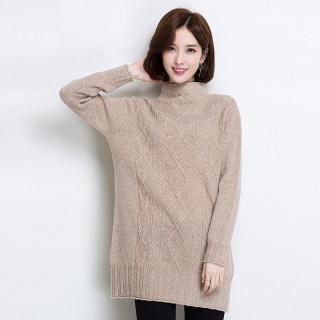 羊毛衫女中长款2018秋冬新款半高领毛衣裙宽松显瘦打底针织衫