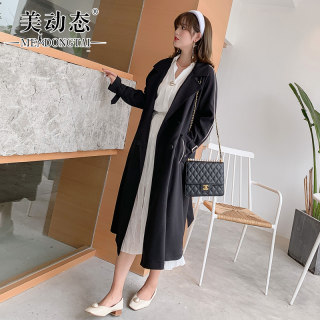 2019初秋胖女人大码外套女微胖mm中长款200斤宽松洋气风衣气质外套