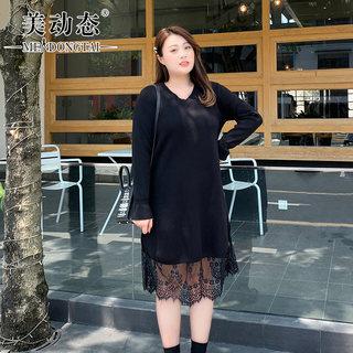 大码女装微胖妹妹显瘦裙子2019秋冬新款舒适优雅毛织连衣裙