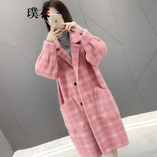 2019秋冬季新款 女韩版仿水貂绒POLO领毛衣开衫中长款针织衫外套