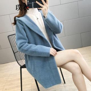 2019秋冬季新款 女韩版仿水貂绒连帽毛衣开衫中长款长袖针织衫外套