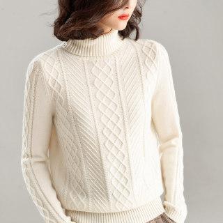 高翻领加厚羊绒衫女毛衣套头修身打底针织衫大码修身宽松显瘦百搭菱形状保暖