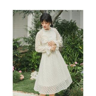 2020春季新款春装新款盘扣长袖圆领碎花中长款连衣裙