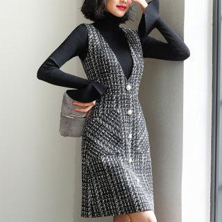 2020春季新款秋装新款女优雅格子修身单排扣大口袋背带连衣裙