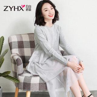 2020春季新款黑色裙子女2020新款仙女超仙森系长袖网纱连衣裙春秋款